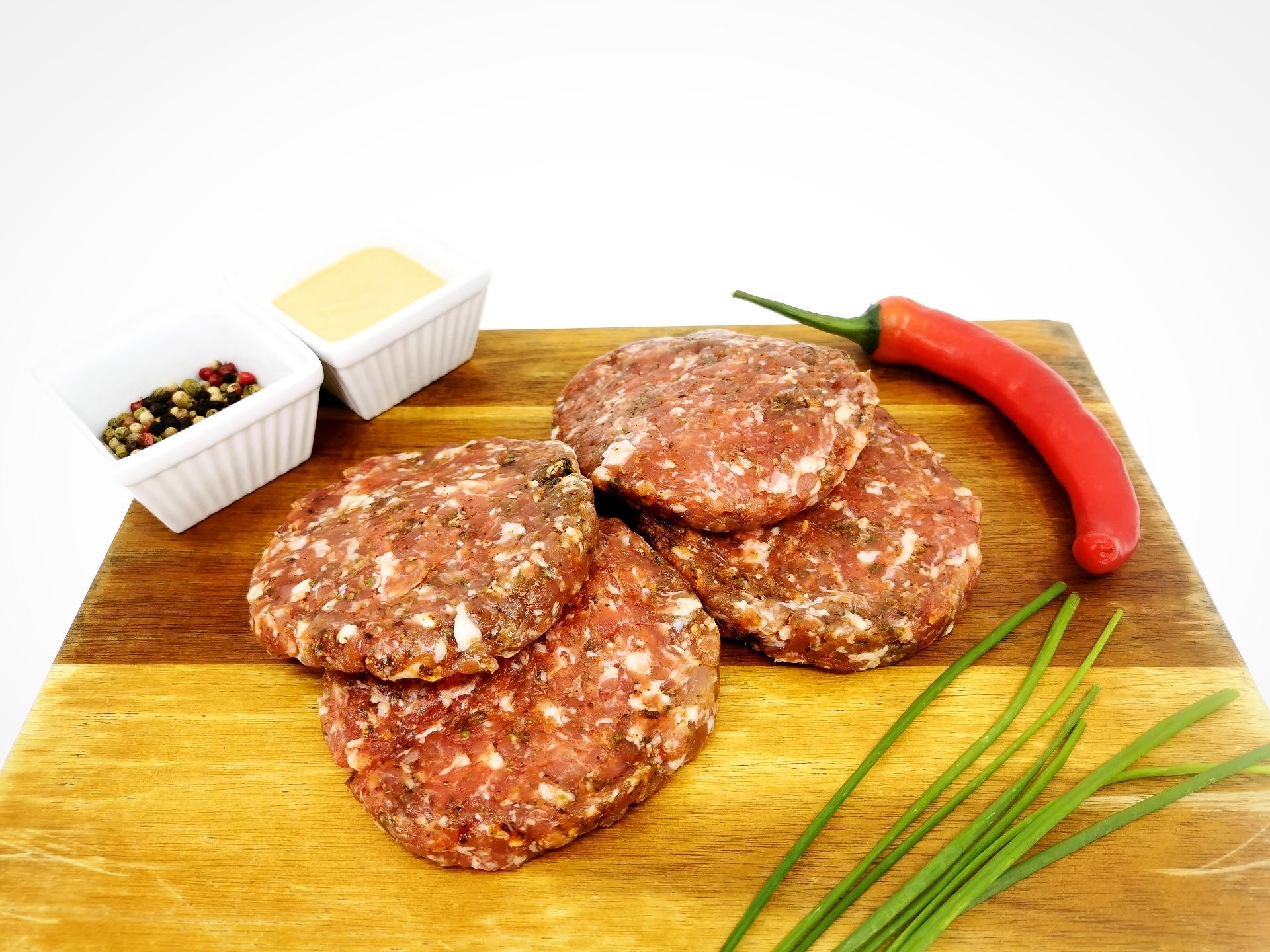 American spicy sausage patty 360g / Americké pikantní masové placičky 360g